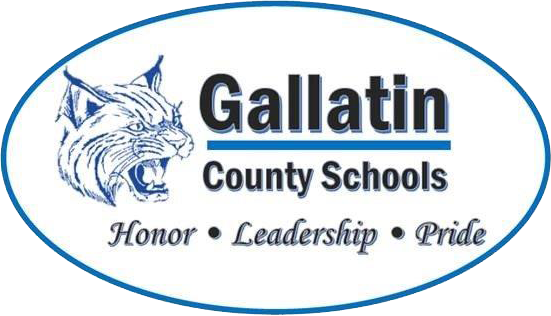 Logo for gallatin schools with Cat image, honor, leadership, pride